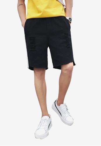 hk-ehunter 黑色 男士側條紋磨破設計短褲 574F9AA1182B62GS_1