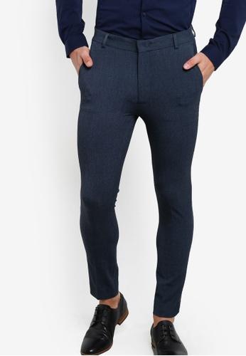 Topman 藍色 Blue Marl Ultra Skinny Trousers TO413AA01FUCMY_1
