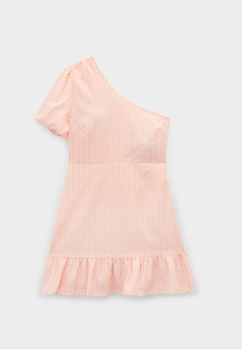 Pomelo orange One Shoulder Puff Sleeve Gingham Dress - Orange F1429AA488281FGS_1