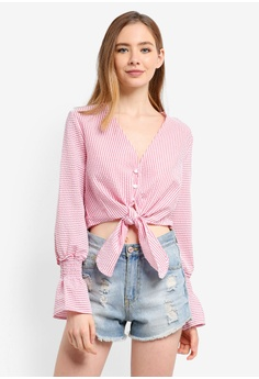 cea4176fac1bed The Fifth Label red Anagram Stripe Long Sleeve Top TH664AA0STP8MY_1