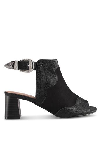 TOPSHOP black Drew Western Heeled Sandals E40AESH1D64EDAGS_1