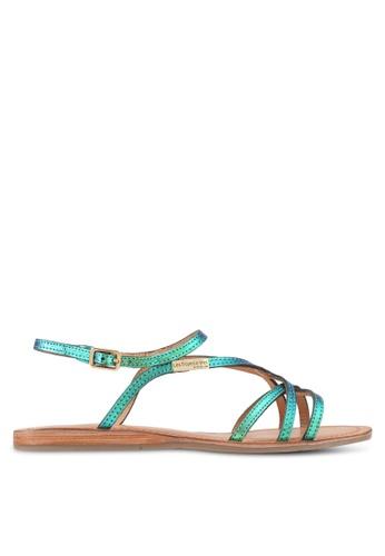 Les Tropeziennes Par M. Belarbi blue Menton Blue Rise Multi Strap Leather Sandals 4D06CSHCA6F7CBGS_1