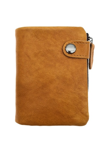 LUXORA brown and orange The Ninja Co. Multiple Wallet - Full Grain Leather Cowhide - Coin Card Men Women Brown Purse Gift 94D59AC2653883GS_1