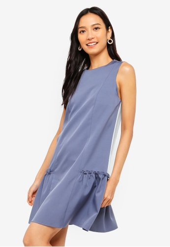 ZALORA 灰色 and 綠色 Drop Waist Ruffle Hem Dress 0CA19AA90E95D1GS_1