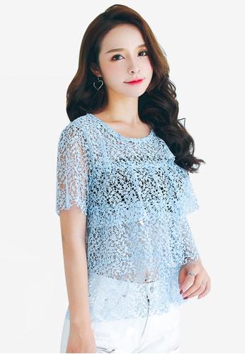 Shopsfashion blue Dolly Lace Top DA3E9AA5FB78C6GS_1