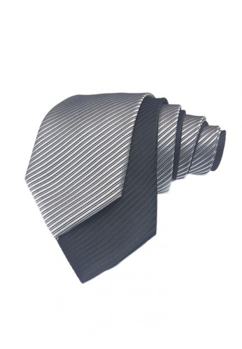 Well Suited black and silver Two Piece Solid Stripe Necktie Combo5 E336DAC0BF93CAGS_1