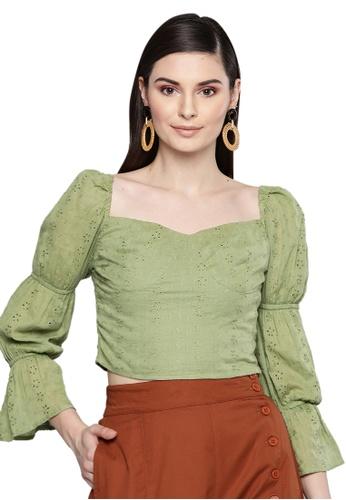 SASSAFRAS green Olive Schiffli Bishop Sleeve Crop top 50C90AAB012DFFGS_1