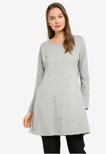 Aqeela Muslimah Wear grey Basic Flare Hem Top 3868AAABE6F74EGS_1