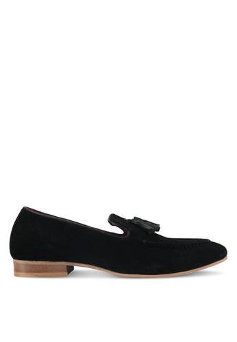 ACUTO black Suede Tassel Loafers AC283SH0SL7FMY_1