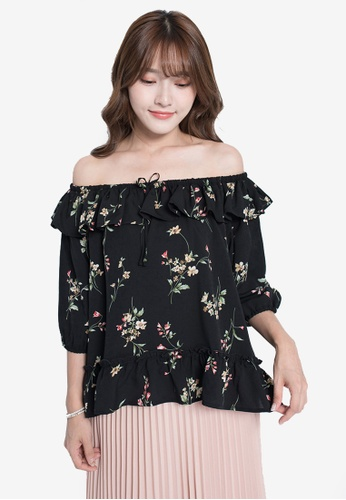 YOCO black Floral Off-Shoulder Top 061AAAAE2DB673GS_1