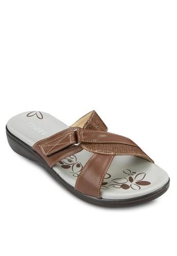 舒適楔型夾腳zalora taiwan 時尚購物網拖, 女鞋, 楔形涼鞋