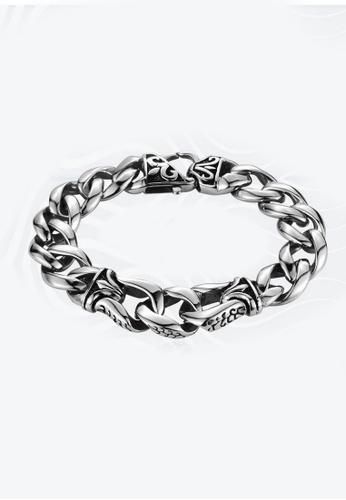 LYCKA silver J171065 316L Titanium Steel Viking Bracelet - Silver LY529AC0GVKNSG_1
