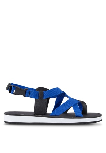 ZALORA blue Contemporary Multiple Strap Urban Sandals 14C31SHF3D9E5EGS_1