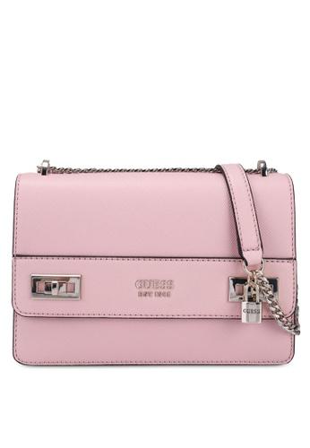 GUESS pink Katey Convertible Crossbody Flap Bag BF02AAC21F61B1GS_1