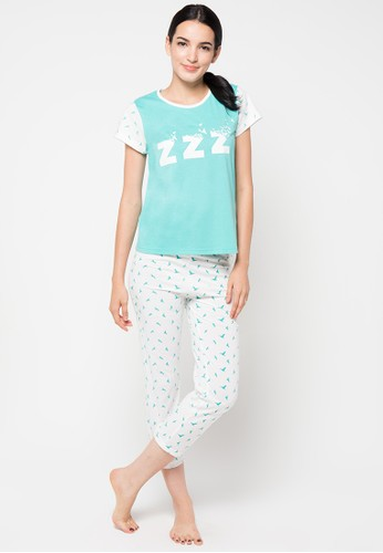 PUPPY white and green Short Sleeve Long Pants PU643AA27SDGID_1