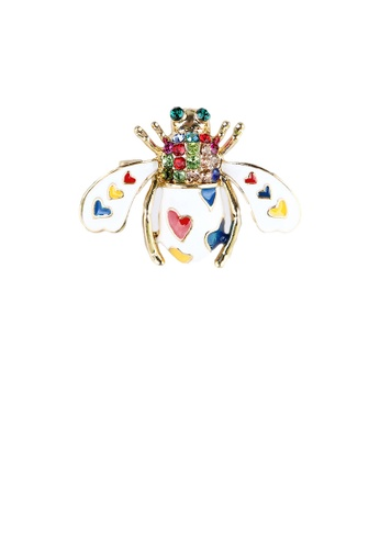 Glamorousky silver Simple and Cute White Plated Gold Enamel Bee Brooch with Colorful Cubic Zirconia 138C6ACD324D0CGS_1