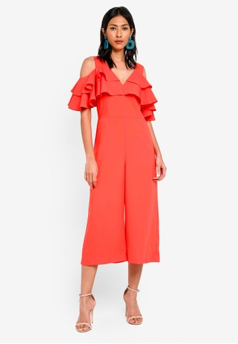 bYSI red Cold Shoulder Tiered Jumpsuit B4048AA3AC614FGS_1