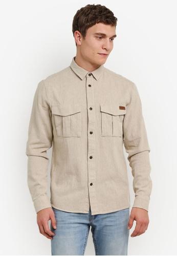 !Solid 褐色 Kahlil 雙 胸前 口袋 Flannel 襯衫 SO701AA0S2UWMY_1