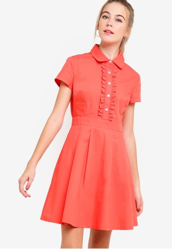 Something Borrowed red Ruffles Front Shirt Dress 49174AA84311EAGS_1