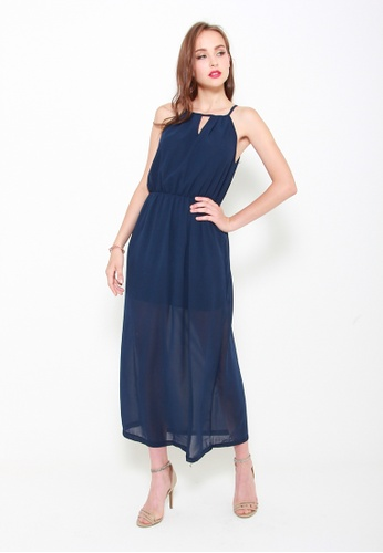 Sophialuv navy Take a Cut Maxi Dress in Navy B8A58AA7969769GS_1