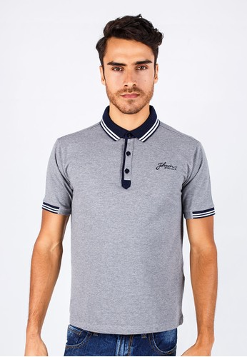 Johnwin - Slim Fit - Polo Shirt - Gray - Striped Collar.