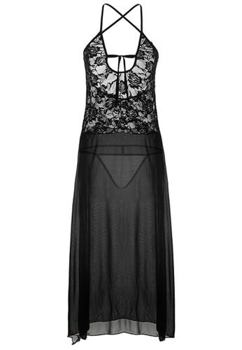 SMROCCO black Anne Plus Size Long Nightdress Sleepwear PL8016 SM066US0S9WGMY_1