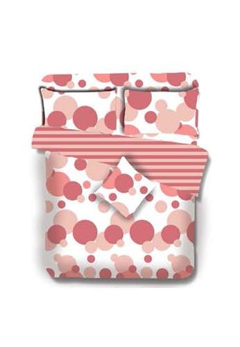 Primeo pink Premium 220TC King Comforter Set, Coral Comforter, Fitted Sheet, Pillow Case Set of 4 1A1D2HLEC9D117GS_1