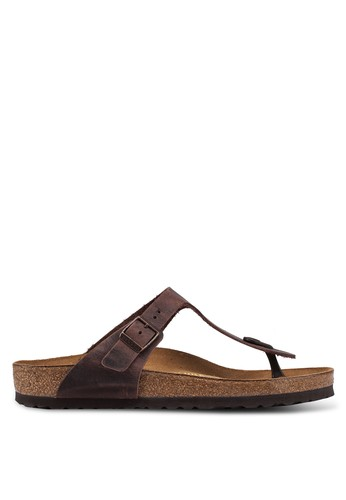 Birkenstock brown Gizeh Oiled Leather Sandals BI090SH0UCZPID_1