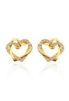 Treasure by B&D E747 Lover's Hearts Shape Plated Stud Earrings