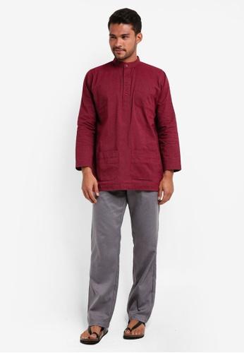 Lubna grey and red Stripe Baju Melayu Cekak Musang C48C1AA9C9EF7EGS_1