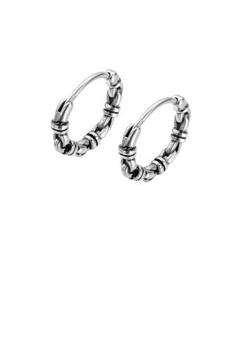 Glamorousky silver Simple Vintage Geometric Knot Circle 316L Stainless Steel Stud Earrings 85D09AC018A29BGS_1