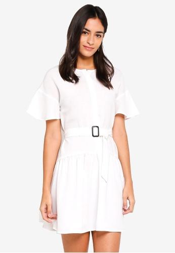 ZALORA white Button Front Dress With Belt B720FAACBCB1BEGS_1