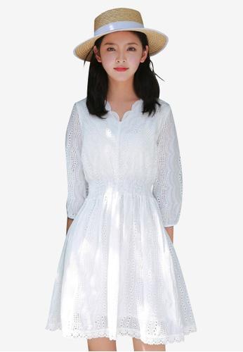 Sunnydaysweety white Bubble Sleeve One Piece Dress 17395AA4F1DD30GS_1