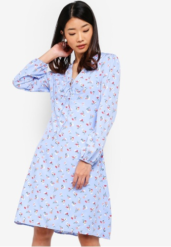 Something Borrowed blue Button Down Flutter Hem Dress 2900DAA8E1BA57GS_1