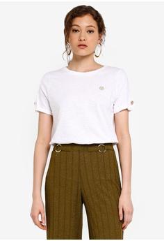 18e0cc64 River Island white Turnback Sleeve T-shirt C6F3BAA32ACA57GS_1