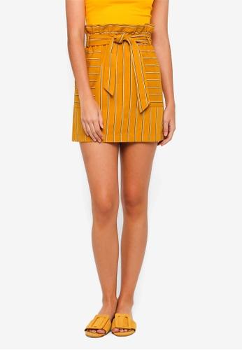 TOPSHOP yellow Stripe Paperbag Skirt D5E1FAA9805777GS_1