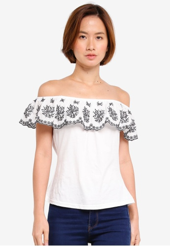 Dorothy Perkins white Petite Ivory Embroidered Bardot CE1D2AA279BE5AGS_1