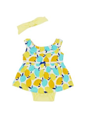Baby Lovett yellow Cheery Lemons Romper Dress with Headband 5A4F9KABD1F037GS_1