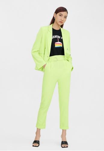 Pomelo green Belted Cigarette Pants - Green E0408AA429EBA0GS_1