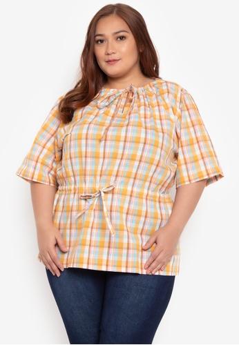 Hint orange Plus Size Woven Blouse HI373AA96OADPH_1