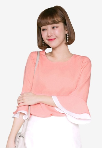 Tokichoi pink Layered Ruffle Sleeves Blouse 85152AABE82E9BGS_1