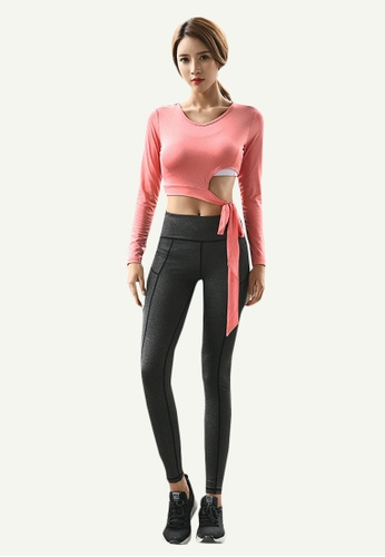 B-Code pink ZYG5159-Lady Quick Drying Running Fitness Yoga Sports Top and Leggings Two Pieces Set-Pink D0B18AA7090CBDGS_1
