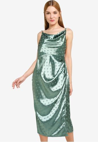 Little Mistress 綠色 Pine Green Satin Midi BC60DAA0CA74AEGS_1