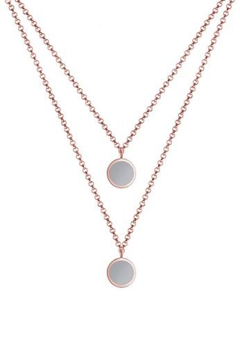 Elli Germany gold Perhiasan Wanita Perak Asli - Silver Kalung Layer Circle Matt Lapis Rosegold 033D9AC1F99A3BGS_1