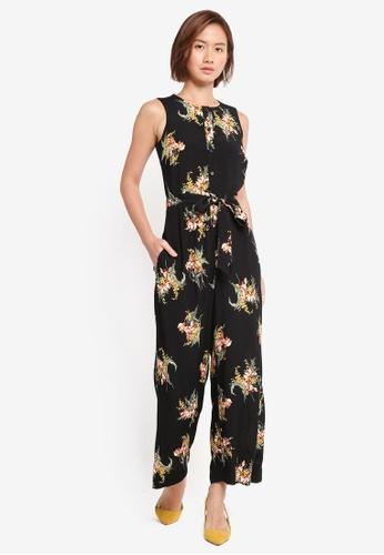 WAREHOUSE black Tropical Culotte Jumpsuit 528DFAA0DCA713GS_1