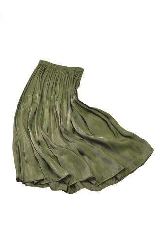 Twenty Eight Shoes green VANSA Pearly Yarn Pleated Skirt VCW-Sk18588 CE949AA4D9357DGS_1