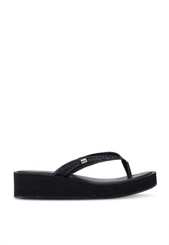 ALDO black Unarawiel Wedge Sandals 8787FSHAB9DBCCGS_1