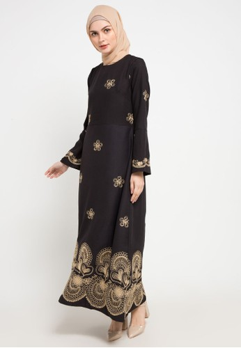 AZZAR black and gold Ketki Maxi Dress 50787AAA464F38GS_1