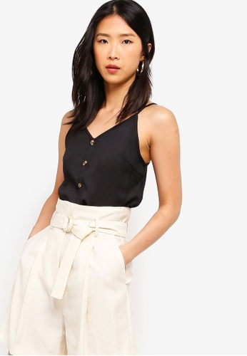 ZALORA BASICS black Basic Button Down Cami Top 0E6AEAA4679331GS_1