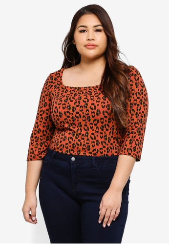 380fab473cf Dorothy Perkins red Plus Size Rust Animal Square Neck Top 33B83AAFD27F8DGS 1